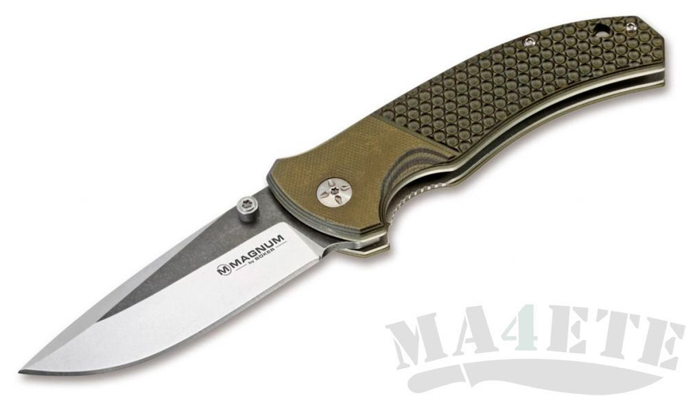 картинка Нож складной Boker Magnum Three Dimensions 440А, OD Green G-10 Handle BK01MB717 от магазина ma4ete