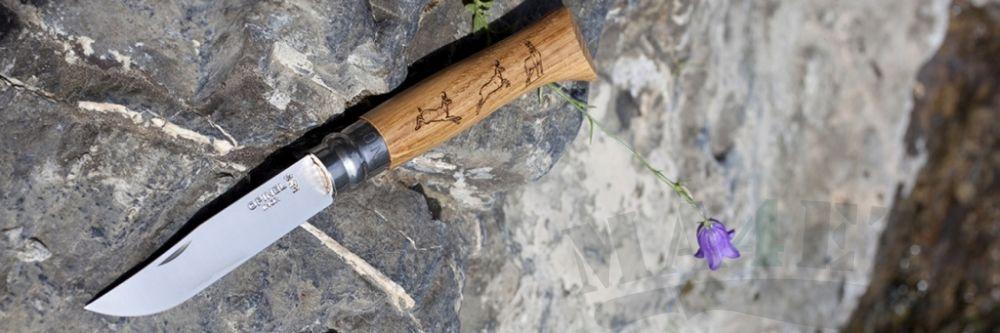 картинка Нож складной Opinel Animalia Chamois нержавеющая сталь, рукоять дуб, гравировка косуля 8VRI от магазина ma4ete