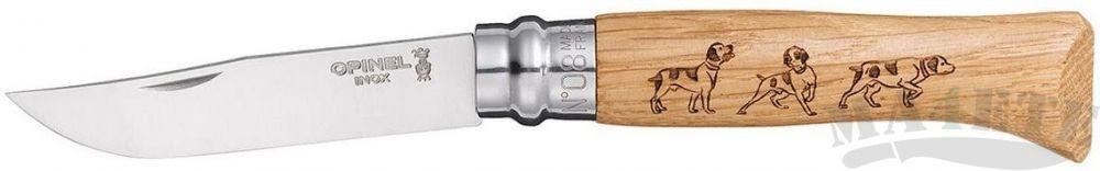 картинка Нож складной Opinel Animalia Dog нержавеющая сталь, рукоять дуб, гравировка собака 8VRI от магазина ma4ete