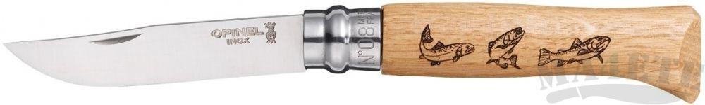 картинка Нож складной Opinel Animalia Trout нержавеющая сталь, рукоять дуб, гравировка форель 8VRI от магазина ma4ete