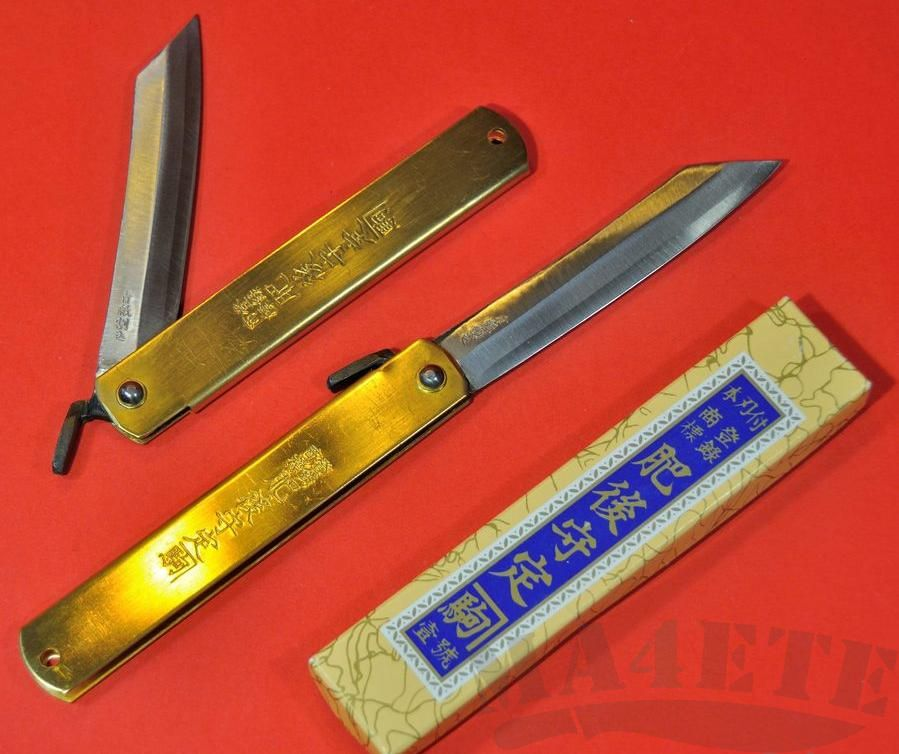 картинка Нож складной Higonokami by Motosuke Nagao AoGami San-Mai Brass Handle 8см HKA-80YL от магазина ma4ete