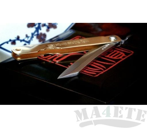картинка Нож складной Higonokami by Motosuke Nagao AoGami San-Mai Brass Handle 10см HKA-100YL от магазина ma4ete