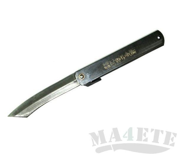 картинка Нож складной Higonokami by Motosuke Nagao Hand Crafted AoGami, Black Stainless Steel Handle 10см HKC-100BL от магазина ma4ete