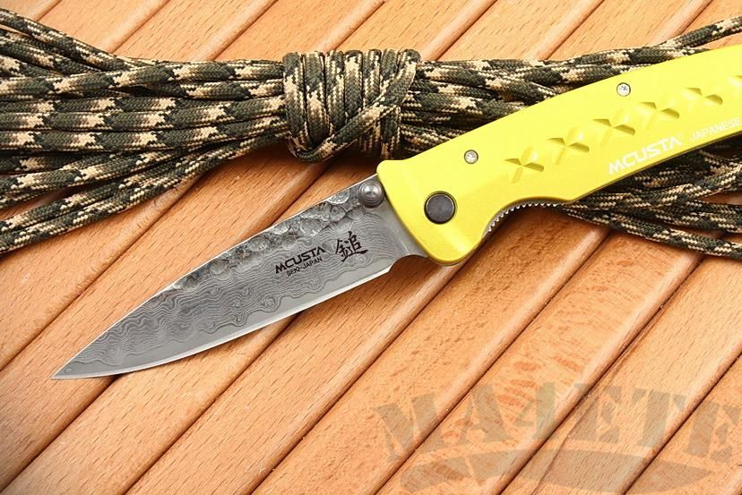 картинка Нож складной Mcusta Bushi Sword Damascus Tsuchi VG-10 with Damascus, Yellow Anodized Aluminum Handle MC-0164D от магазина ma4ete