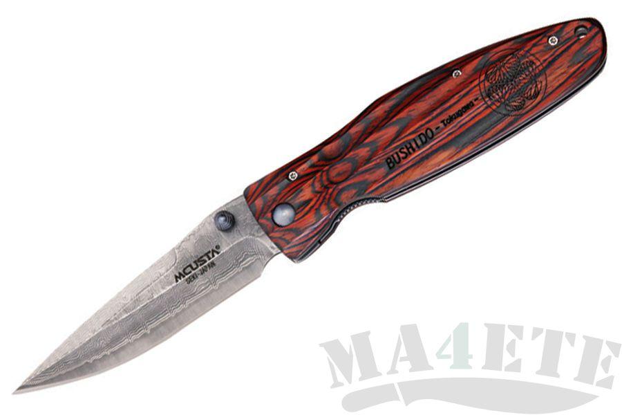 картинка Нож складной Mcusta Ieyasu Tokugawa Damascus Staminawood Handle MC-0183D от магазина ma4ete