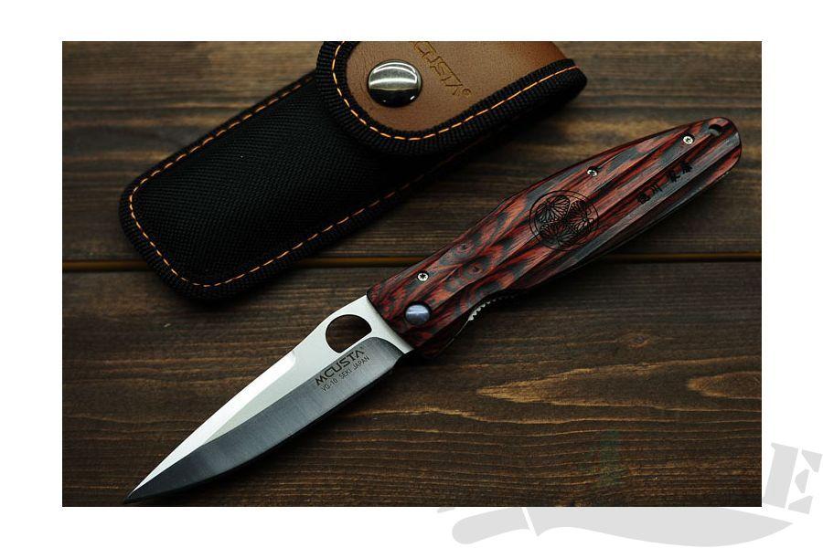 картинка Нож складной Mcusta Ieyasu Tokugawa Staminawood Handle MC-0183 от магазина ma4ete
