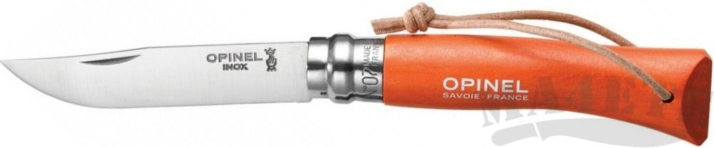 картинка Нож складной Opinel Tradition Colored 07,с кожаным шнурком, цвет оранжевый, граб, нержавеющая сталь 7VRI от магазина ma4ete