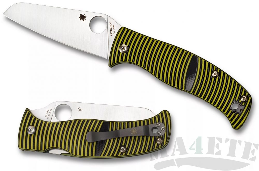 картинка Нож складной Spyderco Caribbean Sheepsfoot Rustproof LC200N Steel, Yellow and Black Layered G10 Handle C217GPSF от магазина ma4ete
