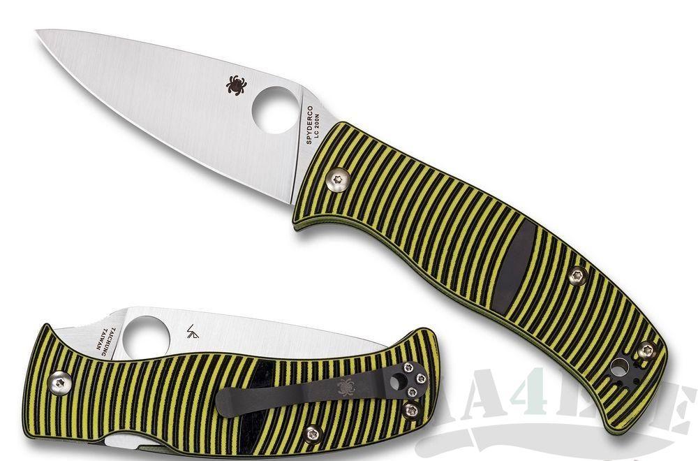 картинка Нож складной Spyderco Caribbean Leaf LC200N Steel, Yellow and Black Layered G10 Handle C217GP от магазина ma4ete