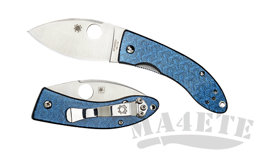 картинка Нож складной Spyderco Lil' Lum Blue Nishijin 205GFBLP от магазина ma4ete